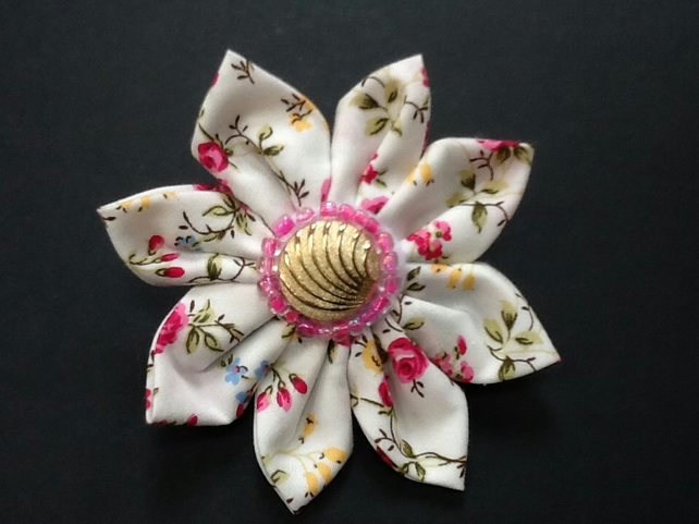 Cath Kidston fabric flower brooch pin corsage, handmade fashion for coat,hat,bag