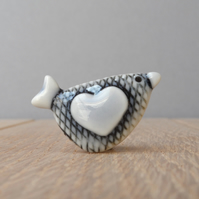 mini love bird  pin handmade porcelain, tie tack,  hat pin, lapel pin, pale blue