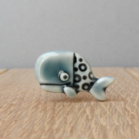 Peacock green whale tie tac lapel pin hat pin handmade porcelain man gift