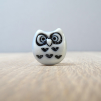 Curious little owl mini pin  handmade porceain pale blue glazed whimsical art