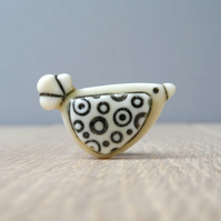 Bird mini pin handmade porcelain, tie tack,  hat pin, lapel pin