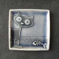 Cat ring dish handmade porcelain decorative jewellery plate glazed pale blue.