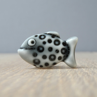 Mini spotted fish pin, tie tack, lapel pin,handmade porcelain storm grey glazed