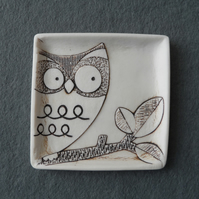Owl ring dish handmade porcelain decorative jewellery plate, trinket tray.