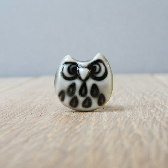 Grumpy little owl mini tie pin handmade porcelain storm grey whimsical gift