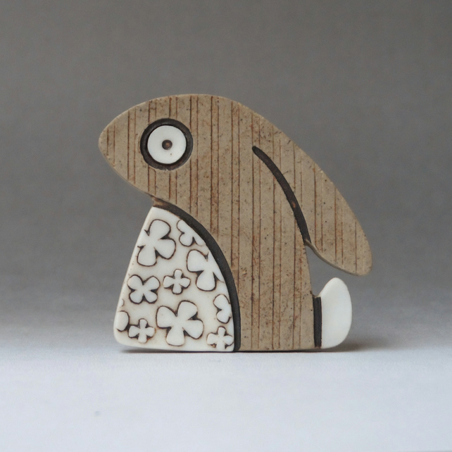 Sad little rabbit brooch