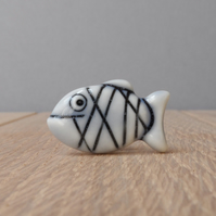 Mini fish pin, tie tack, handmade porcelain pale blue glazed