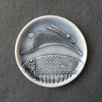 Rabbit ring dish handmade porcelain small plate glazed pale blue