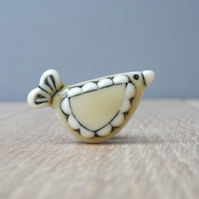 Cream Yellow Bird mini pin handmade porcelain, tie tack,  hat pin, lapel pin