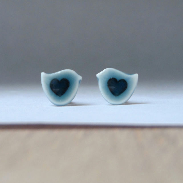 Tiny bird stud earrings handmade peacock green glazed English porcelain