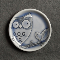 Owl ring dish decorative jewellery plate, trinket tray handmade porcelain