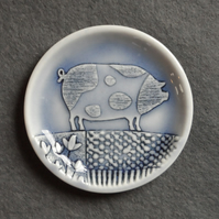 Spotted pig  ring dish decorative jewellery plate, handmade English porcelain