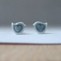 Valentine bird stud earrings handmade storm grey glazed English porcelain
