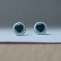 Hearts for valentines, handmade porcelain tiny round heart stud earrings
