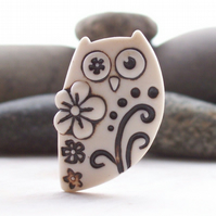 Flower owl brooch handmade porcelain natural oxide stains