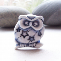 Shhh..... he's sleeping. Little porcelain owl brooch