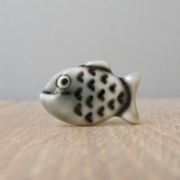 Happy little fish pin, tie tack, lapel pin,handmade porcelain storm grey glazed