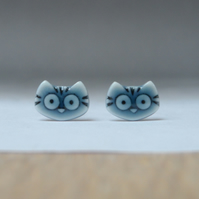 Tiny kitty cat stud earrings handmade peacock green glazed English porcelain