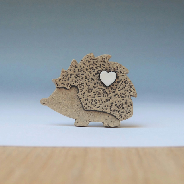Hedgehog mini pin for hats, ties or lapels. Stoneware and porcelain