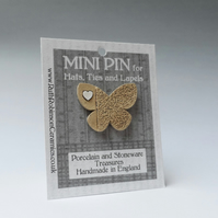 Butterfly mini pin for hats, ties or lapels. Stoneware and porcelain