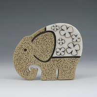 Elephant brooch stoneware and porcelain