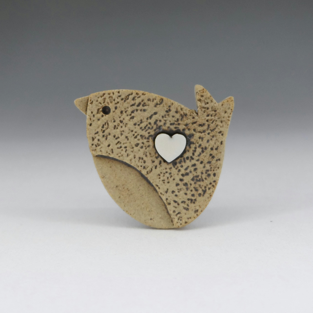 love bird mini pin for hats, ties or lapels. Stoneware and porcelain