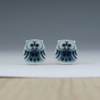 Little owl stud earrings handmade peacock green glazed English porcelain