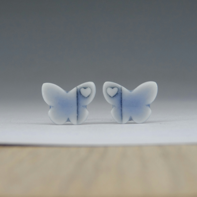 Butterfly stud earrings handmade porcelain, pale blue glazed.