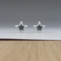 Little star stud earrings handmade porcelain, pale grey glazed.