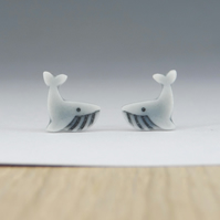 Tiny grey whale stud earrings handmade porcelain, pale grey glazed.