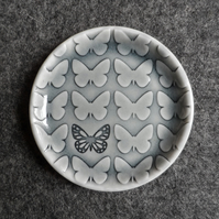 Butterfly ring dish decorative jewellery plate, handmade English porcelain