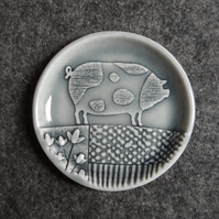 Spotted pig dish, for rings, change or bits n bobs handmade porcelain