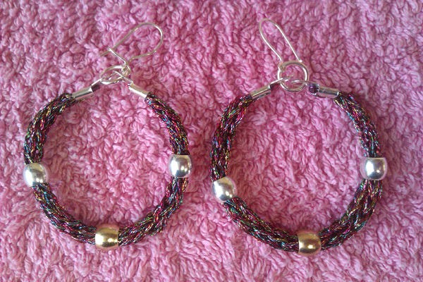 French Knitting With Beads : Jewel tone french knit hoop earrings with plain folksy