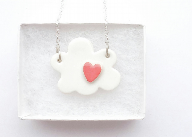 Very cute white porcelain and sterling silver cloud with red heart necklace