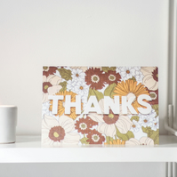"Retro flowers ""Thanks"" greeting card"