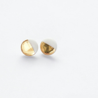 Gold and white circle porcelain and sterling silver stud earrings