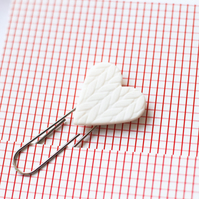 Ceramic, porcelain love heart bookmark large paperclip