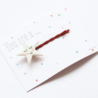 You are a ...Smiling Star porcelain bobbypin