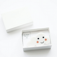 Happy smiling cloud porcelain brooch