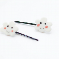 Pair of happy porcelain cloud hairpins