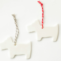 Porcelain Scottie dog hanging decoration