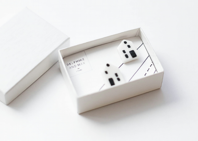 Black and white little porcelain houses and sterling silver stud earrings
