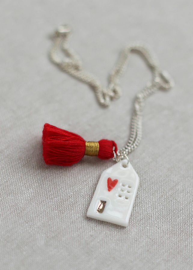 """Home"" porcelain necklace with red silk tassel"