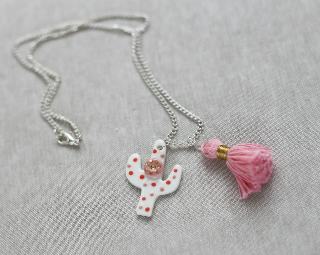 """ dotted cactus"" porcelain necklace with pink silk tassel"