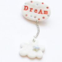 Dream cloud porcelain brooch