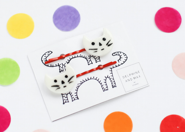 Pair of porcelain cat hairpins