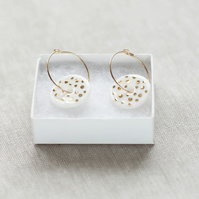 White and gold ceramic porcelain discs with gold filled earring hoops