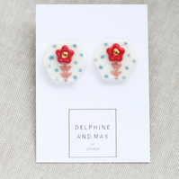 """Bloom"" hexagon porcelain earrings"