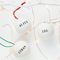 Personalised ceramic Christmas bauble,