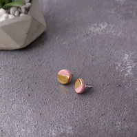 Gold and pink circle porcelain and sterling silver stud earrings